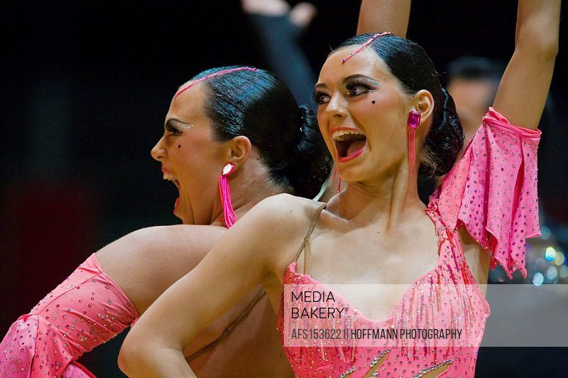 Portrait of two female dancers in a dance contest