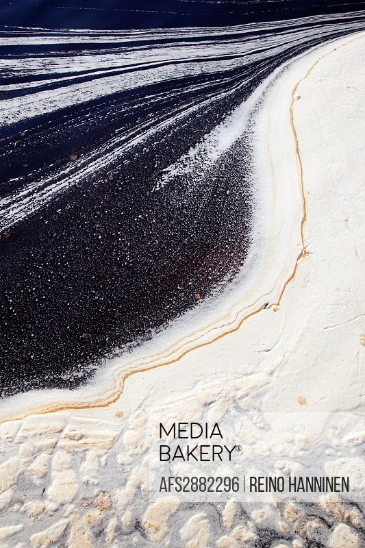 Foam, froth and other debris has polluted the water surface  Location Oulu Finland Scandinavia Europe