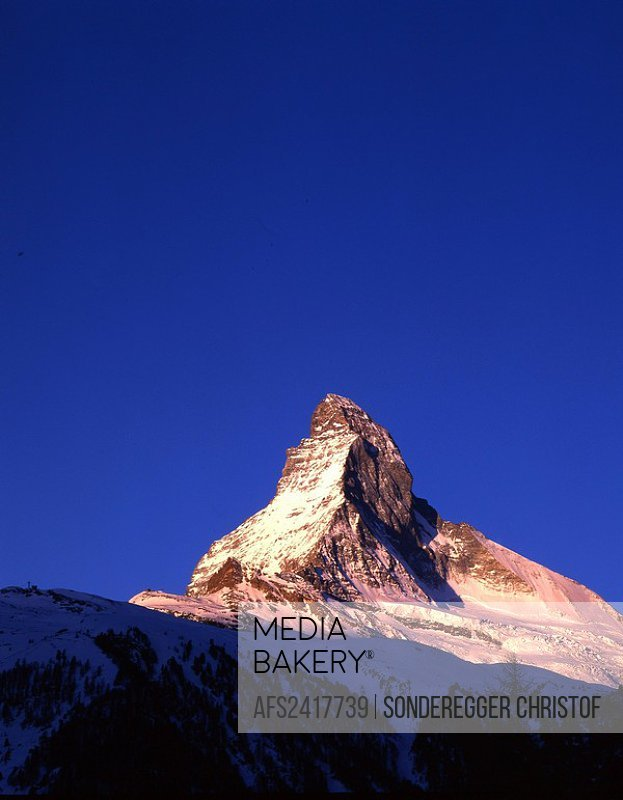 Matterhorn, in morning, morning mood, dusk, twilight, mood, mountains, Alps, canton Valais, Switzerland, Europe,