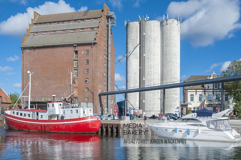 Fishing harbor with grain elevator, Burgstaaken, Fehmarn, Baltic Sea, Schleswig-Holstein, Germany, Europe.