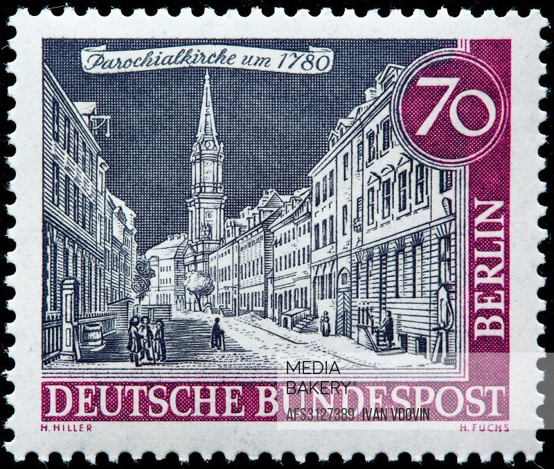 Parochial Church, 1780, postage stamp, Germany, 1962