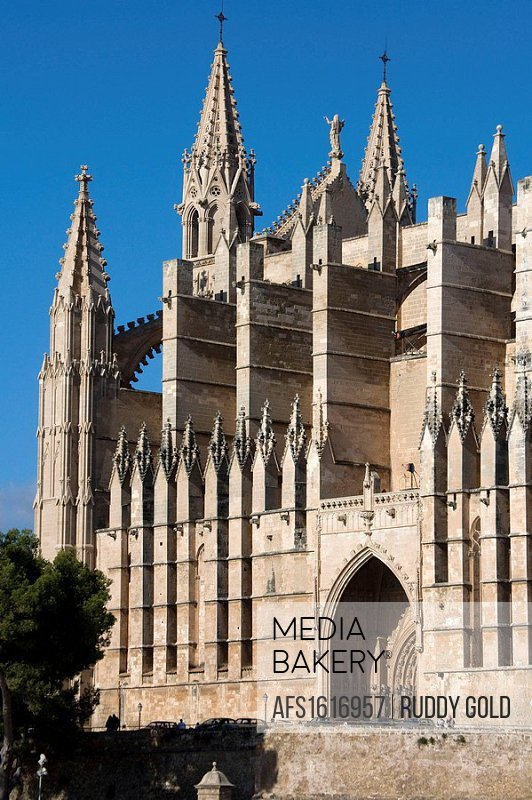 Balearic Island. Spain. Mallorca. The cathedrla of La Seo was build in 1230 and it was finished in 1601. Designed in the French Gothic style. The main...