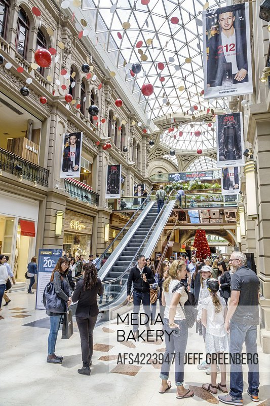 Argentina, Buenos Aires, Galerias Pacifico mall, shopping, inside, stores, skylight, escalator, family, woman, Hispanic, Argentinean Argentinian Argen...