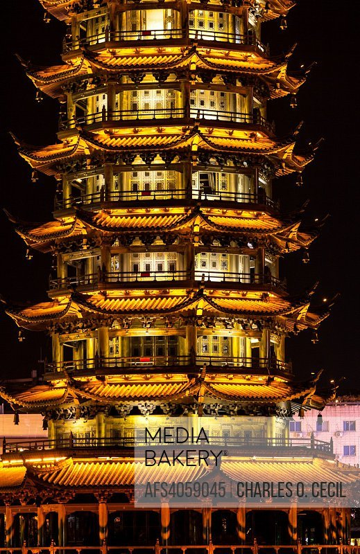 Guilin, China. Sun Pagoda beside Shan Lake, at Night.