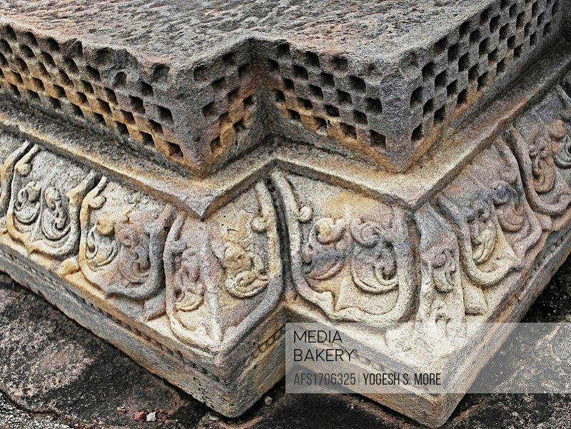 Carved Corner of Temple Forty five, 45 at Sanchi Stupa, Madhya Pradesh, India
