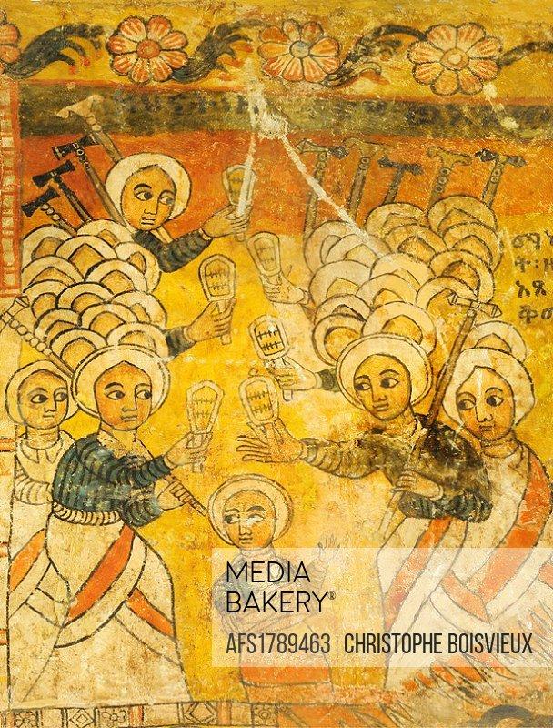 Ethiopia, Tigray, Gheralta cluster, Abreha Atsbeha church, Singing dabtaras or choristers