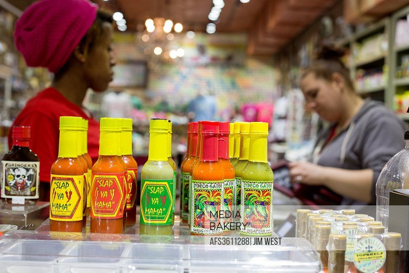 New Orleans, Louisiana - A store in the French Quarter sells a variety of Louisiana hot pepper sauces.