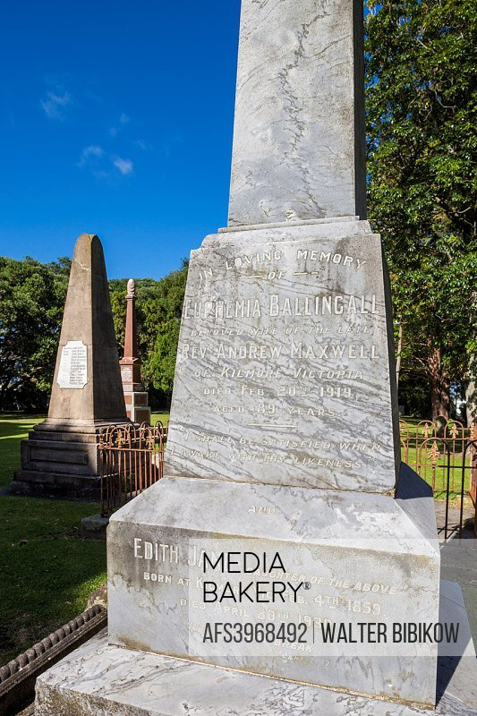 New Zealand, North Island, Tauranga, Mission Cemetery, resting place for early settlers.