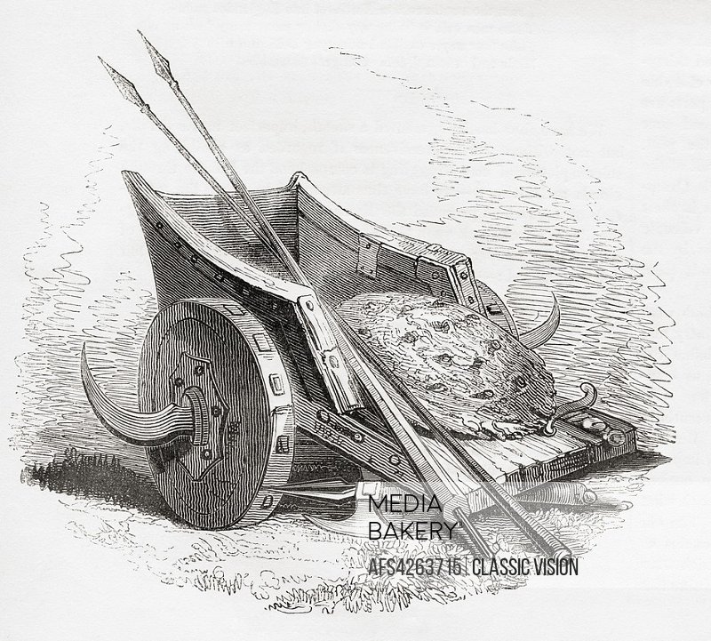 Ancient British war chariot with scythed blades coming out from the wheels. Shield and spears resting on top. From Old England: A Pictorial Museum, pu...