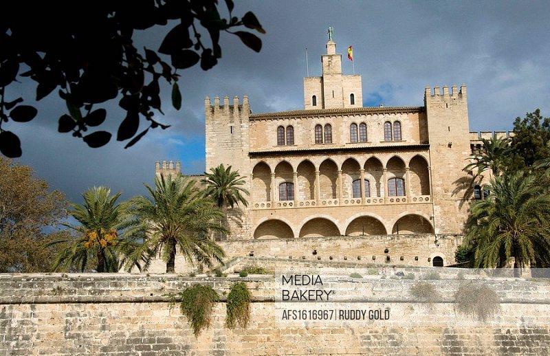 Majorca, Balearic Islands, Spain. The Palacio de la Almudaina was originally a citadel built by the Moorish governors just outside the city walls. It ...