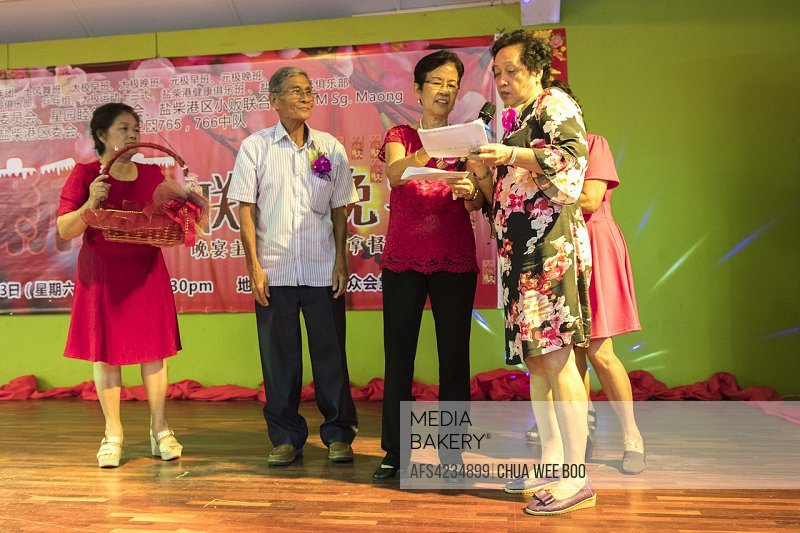 Lucky draw during Chinese New Year dinner at Sungai Maong Community Hall, Kuching, Sarawak, Malaysia