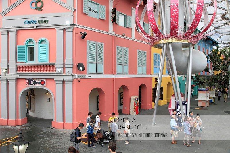 Singapore, Clarke Quay, leisure area, people,