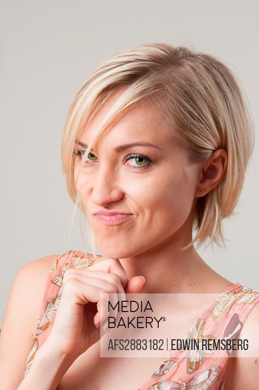 Blond woman with facial expression