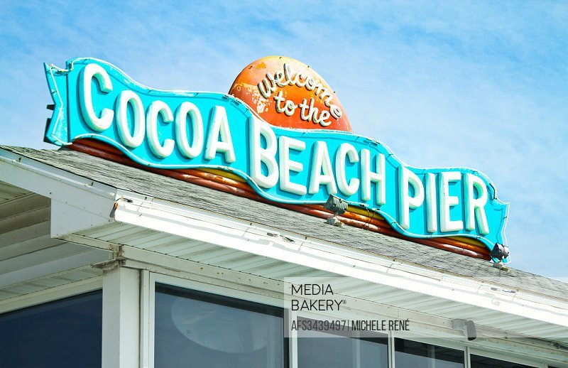 Welcome to the Cocoa Beach Pier sign.