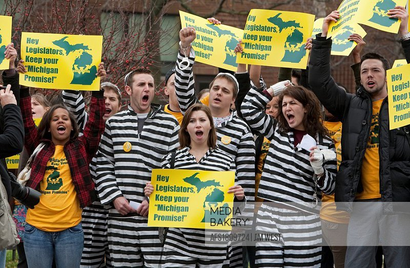 Detroit, Michigan - Students at Wayne State University protest the state legislature´s elimination of the Michigan Promise scholarship  Some students ...