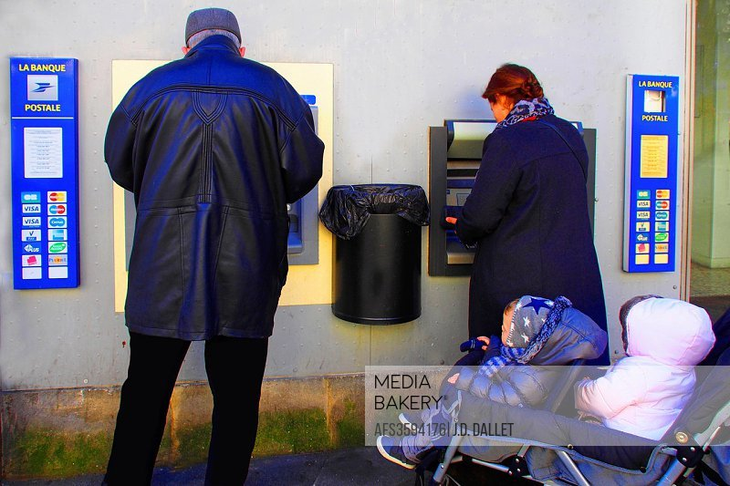 Electronic banking, Saint Michel area, Bordeaux, Gironde, Aquitaine, France