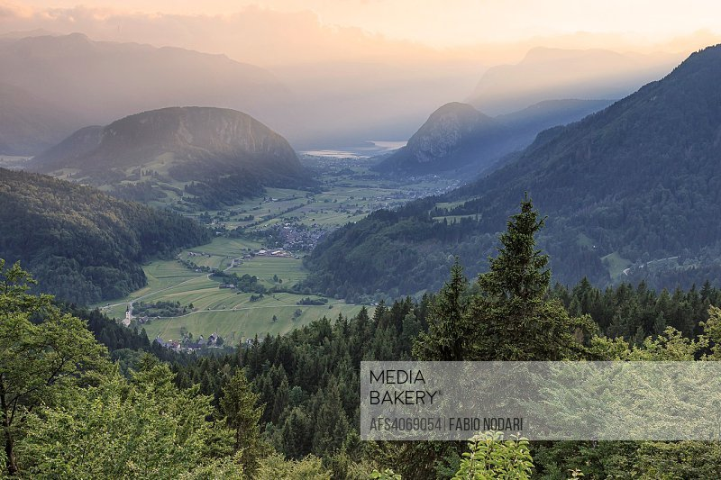 Aerial view of Bohinj lake at sunset in Julian Alps. Popular touristic destination in Slovenia not far from Lake Bled.
