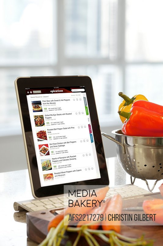 iPad Epicurious cooking application screen being used in the kitchen