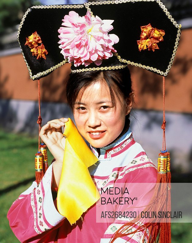 Girl in Qing costume, Chengde, Emperors Palace, China