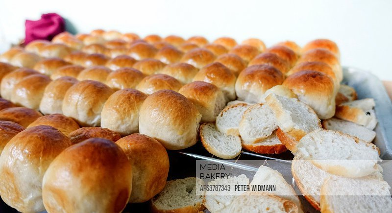 Freshly baked small white bread, Thailand, Asia.