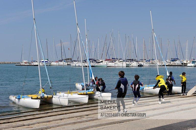 sailing school, Port-Camargue, Grau du Roi, Gard department, France, Europe