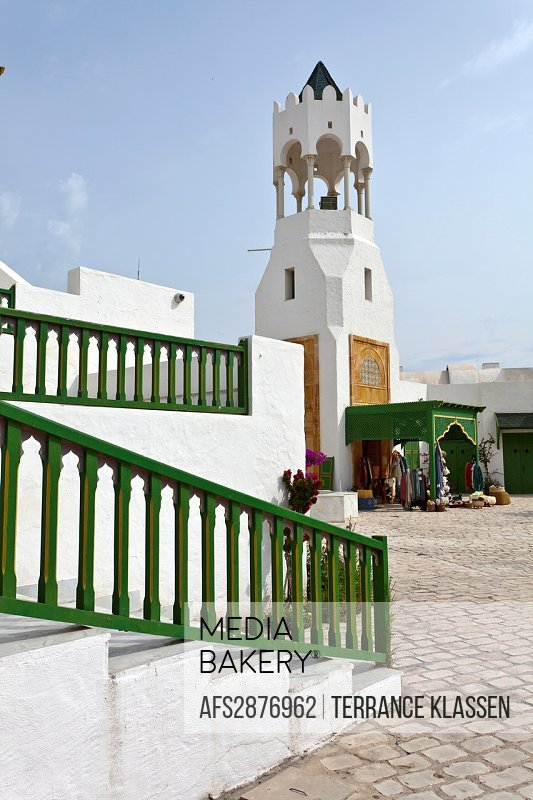 The tourist welcome center buildings and architecture at the Tunisian Port of La Goulette, Tunisia.