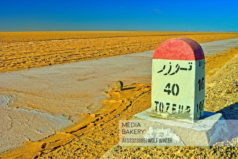 Saltlake Chott El Djerid between Kebili and Tozeur,Tunisia.
