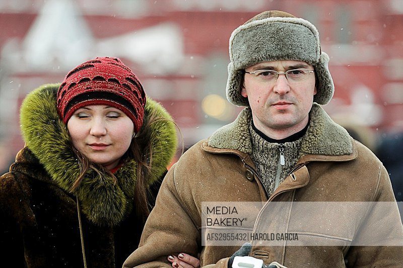 People in a winter day at Red Square, Moscow, Russia