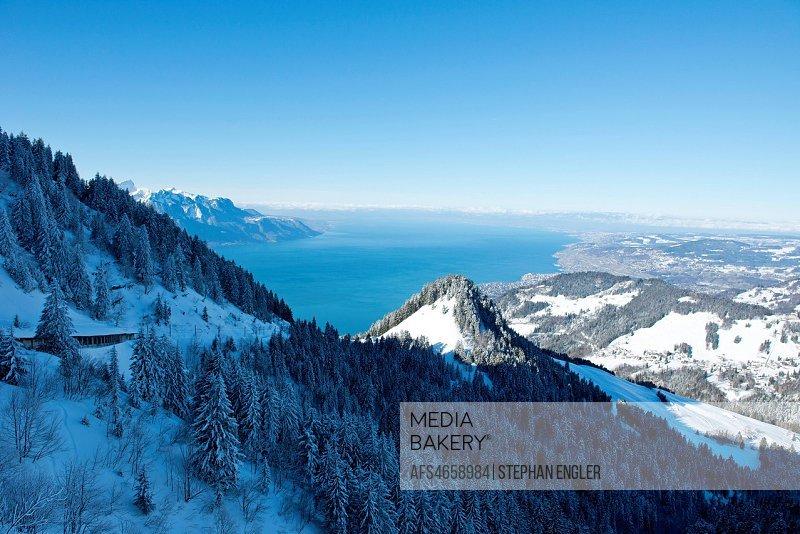 Switzerland, Vaud, Montreux, panorama depuis Jaman
