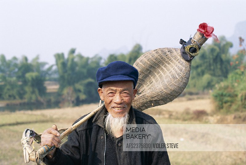 Asia, Basket, China, Elderly, Farmer, Fish, Fishing, Guangxi, Guilin, Holiday, Landmark, Model, Province, Released, Tourism, Tra