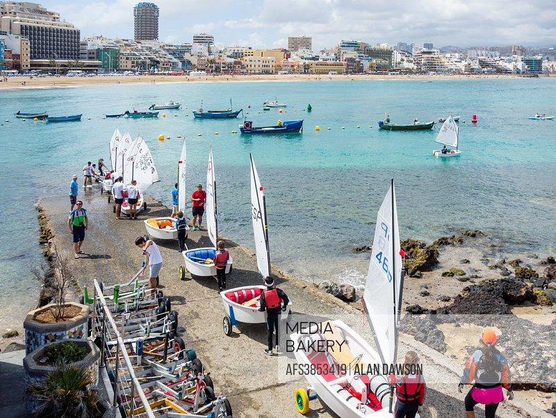 Las Palmas, Gran Canaria, Canary Islands, Spain, 30th April 2016. More than 70 juniors competing at Inter islands regatta (Canary Islands) for Optimis...