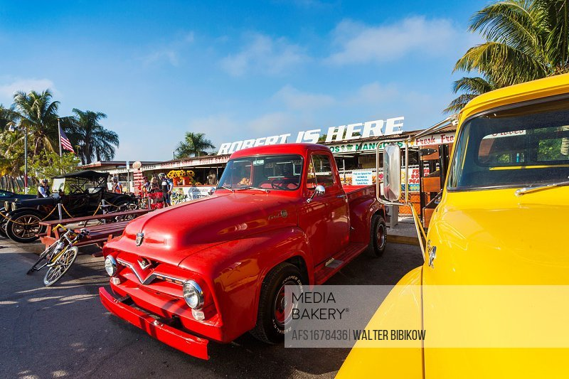 USA, Florida, Homestead, antique pickup trucks.