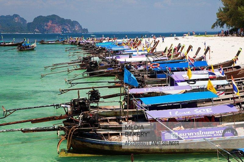 Mass Tourism on Poda Island, Krabi, Thailand
