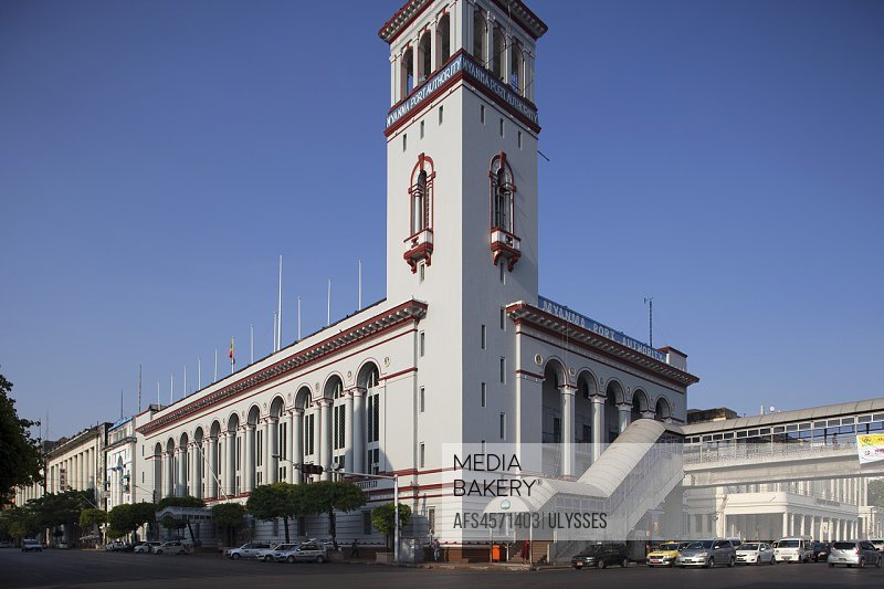 Myanma Port Authority Building, Pansodan street, Yangon, Myanmar, Asia.