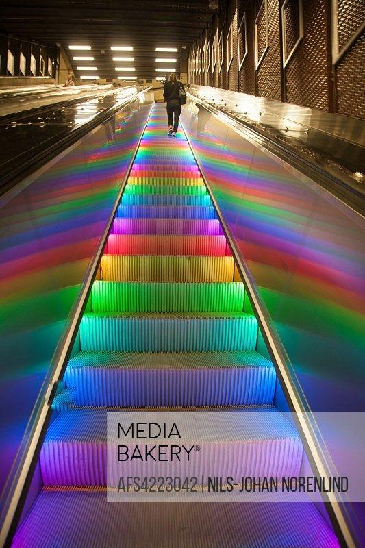 Subway station escalator, Stockholm, Sweden.