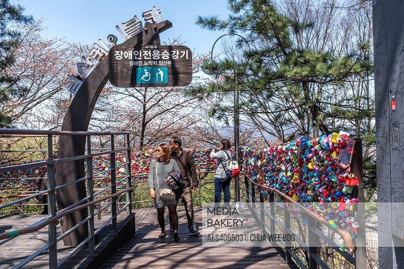 Lover´s locks along a railing, Seoul, South Korea
