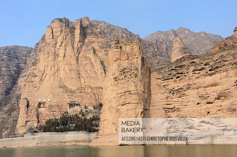 China, Gansu, Linxia surroundings, The Yellow River at Bingling Si
