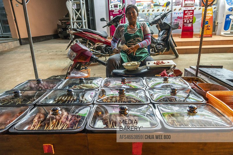 Street vendor selling barbecue and satay in Thaton, Thailand
