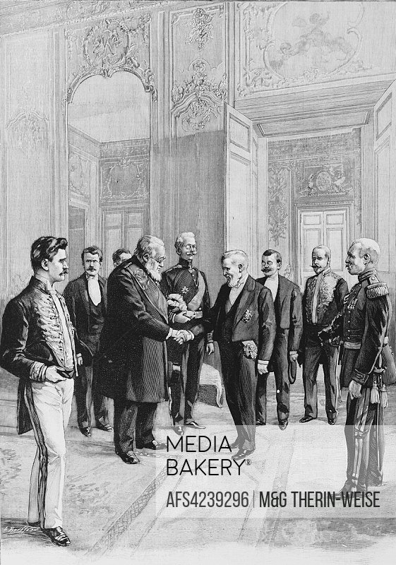 French President Loubet welcoming South African President Kruger during his visit to France, Picture from the French weekly newspaper l'Illustration, ...