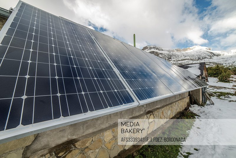 Solar energy panel detail at Lizara mountain Refuge. Aragues Valley, Huesca Pyrenees, Aragón, Spain.