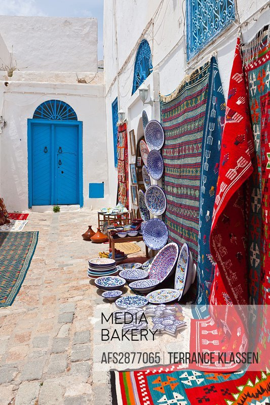 A street market and shop in Sidi Bou Said, Tunisia.