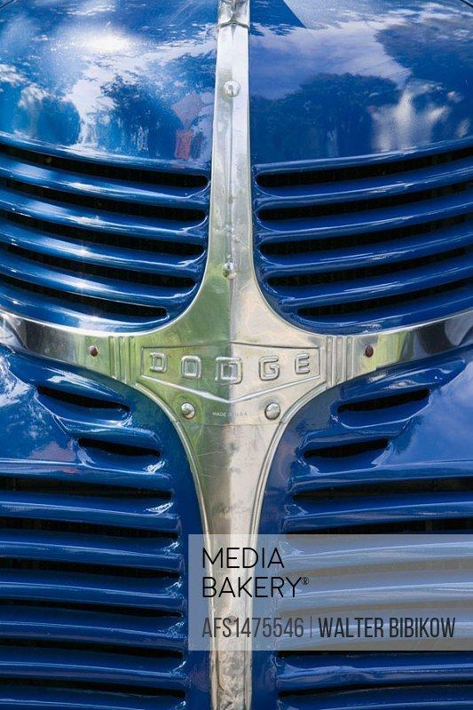 West Tisbury. Radiator Grille of a 1938 Dodge Pickup Truck. Martha´s Vineyard. Massachusetts. USA.