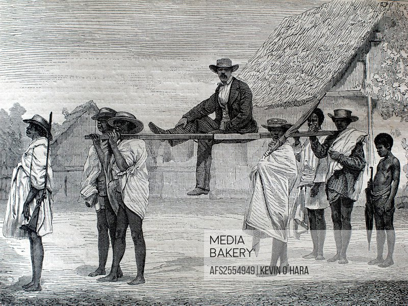 The ´tacon´, mode of transport. 1864. Madagascar.