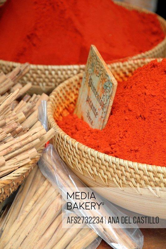 Spices,Rubielos de Mora during the Medieval market,Teruel,Spain
