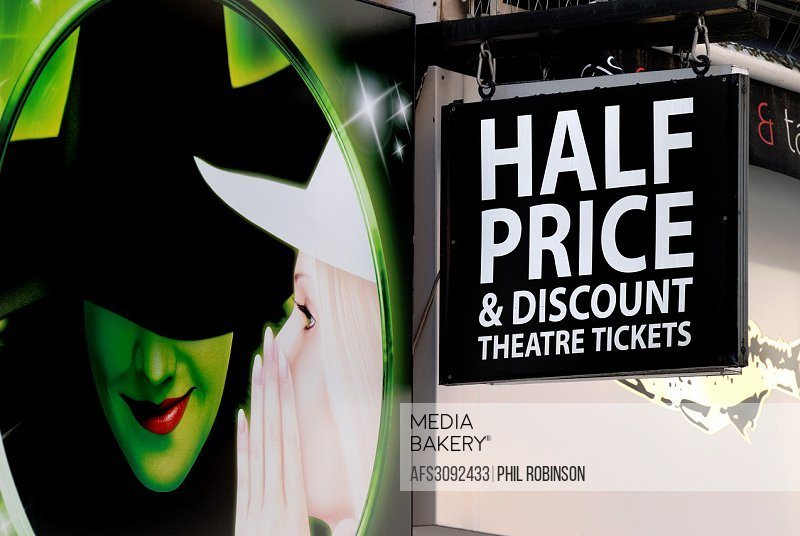 London, England, UK. Half price and discount theatre tickets - poster from 'Wicked'.