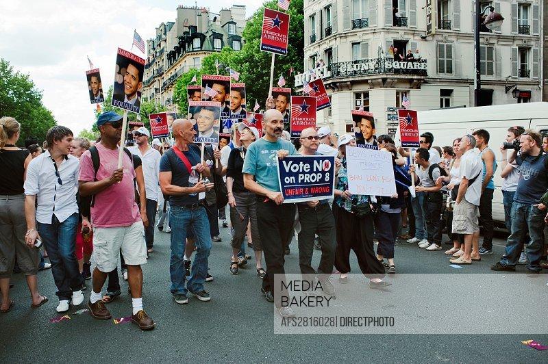 Paris, France, Public Events, People Celebrating at the Gay Pride Parade, Marche des Fiertes Lesbiennes, Gaies, Bi et Trans, Blvd  St  Germain  Americ...