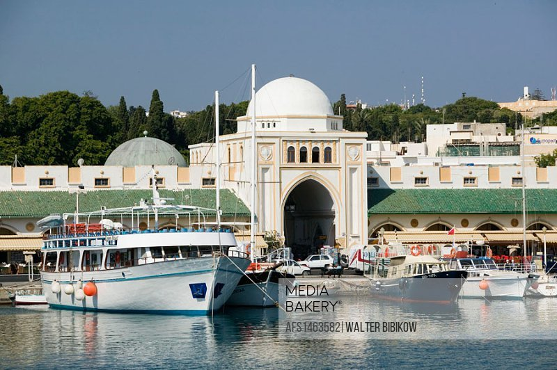 Mandraki Harbor with boats. Daytime. Rhodes. Dodecanese, Greece