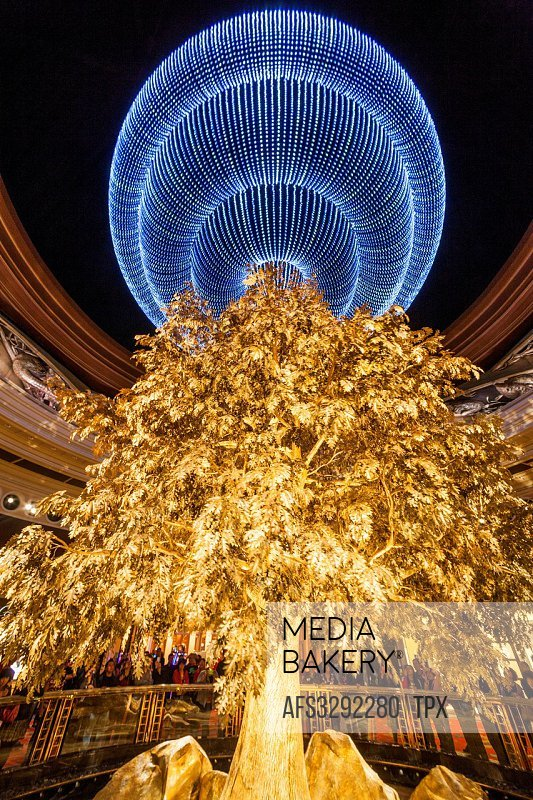 China, Macau, Wynn Hotel and Casino, The Atrium Tree of Prosperity Show