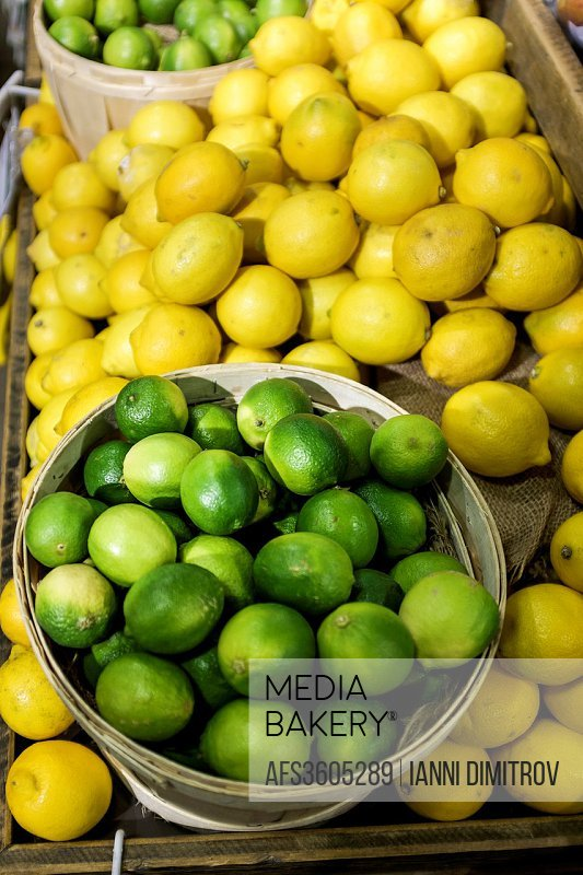Lemons and limes on market stall,Richmond ,Surrey.
