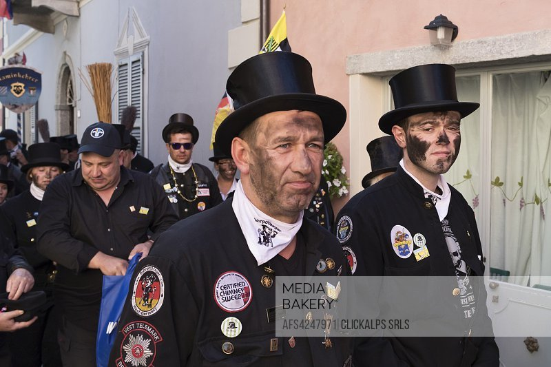 Vigezzo Valley, Santa Maria Maggiore, Verbania district, Piedmont, Italy. International Chimney sweepers gathering.